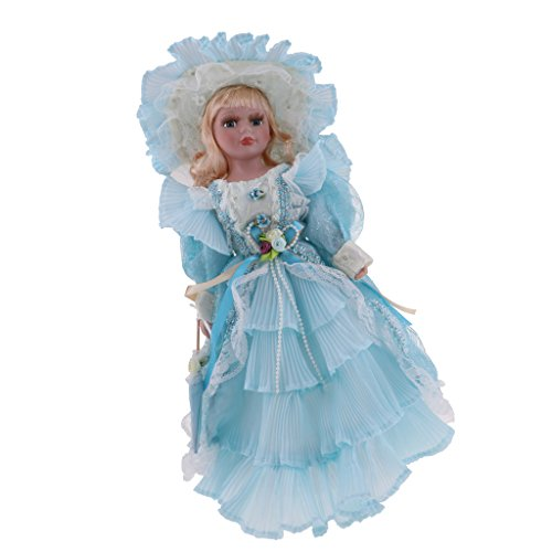 Homyl 40cm Porcelain Doll Victorian Lady Figures with Wooden Stand for Adults Collections