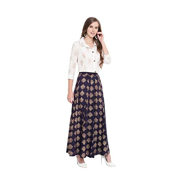 41vzBYdYHsL Stylum Women's Gold Printed Rayon Short Shirt & Skirt Set