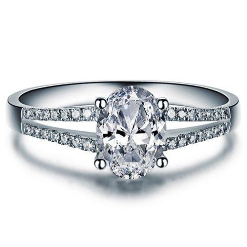 Oval Cut Moissanite Engagement Ring 14k White Gold Palladium Platinum Split Shank Handmade Diamond Ring Anniversary Ring Forever One