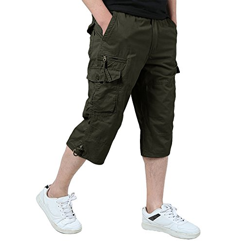 Kamuon Men S Casual Elastic Waist 3 4 Long Cargo Shorts