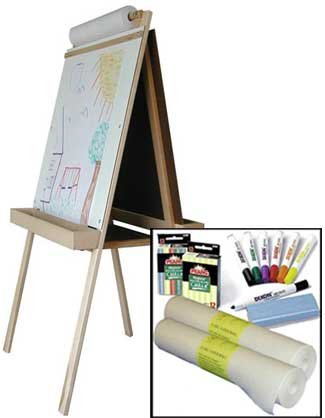 Beka Double-Sided Easel-and-Supplies Combo #1, Marker Board and Chalkboard Surfaces, Top Paper Holder, Wood Trays by Beka (Image #1)