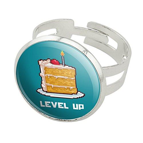 8-Bit Pixel Retro Cake Level-up Game Gamer Silver Plated Adjustable Novelty (Costume Quest Ending)