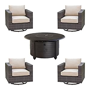 Creative Living 10093481 South Hampton 5pc Swivel Rocker Club Set, Mahogany