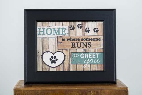 Summer Snow Home is Where Someone Runs to Greet You Dog Cat Puppy Kitten Love Decor Framed Art