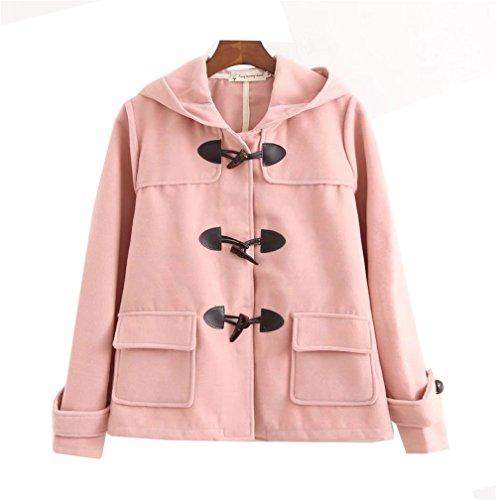 Lana Donna Giubbotto clothing Lunghe Maniche Invernali COCO con Cappotti Cappuccio Camicia Casual Cappotto Rosa Giacche q4EAUTn