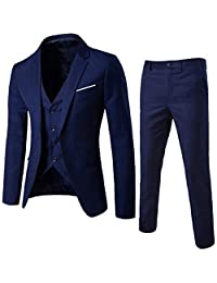 6ab8041006 Sumen Men Suit Slim 3-Piece Suit Blazer Business Wedding Party Jacket  Vest+Pants