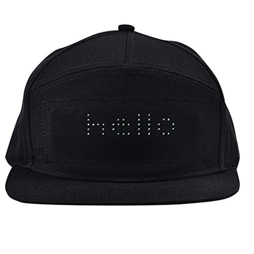 Smart Hat,Display Screen Hat Bluetooth Adjustable Peak Waterproof LED Cap (Black) -