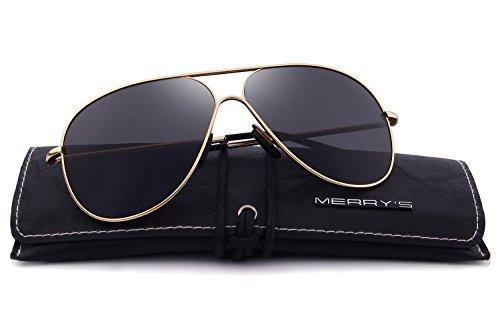 MERRYS Polarized Metal Sunglasses For Driving Men Sun glasses UV 400 S8456 Gold&black