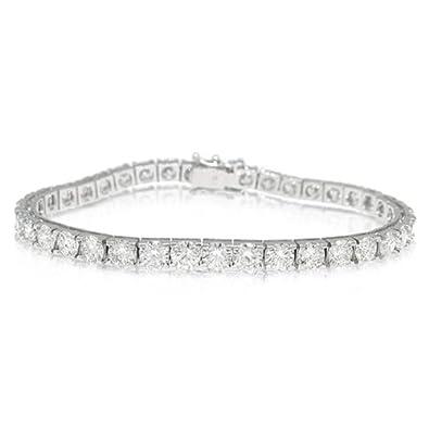 97a3635c7aa2 13.00ct 18k Oro Blanco Diamante Tenis Pulsera  Amazon.es  Joyería