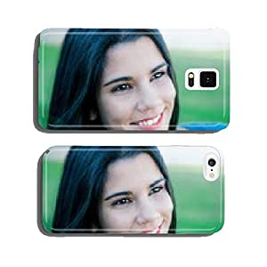 Happy brunette girl in the field cell phone cover case Samsung S6