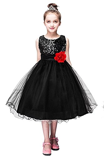 Black Sequin Bow Dress (ZAH Sequin Mesh Flower Party Wedding Gown Bridesmaid Tulle Dress Little Girl(Black,5-6Y))