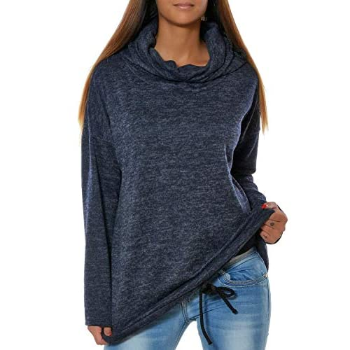 Loveso Damen Langarm Rundhalsausschnitt Sweatshirt T Shirt