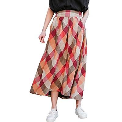 Cheap YOU.U NEW ARRIVAL Summer Women Long Plaid Skirt Elastic Waist free shipping