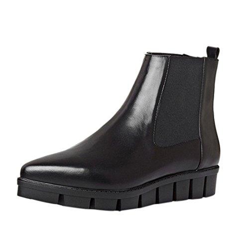 Bottes Augmente Plateforme Femmes L'Europe Chaussures Bout Court Bottes Pointu Noires Cheville wXFxIR
