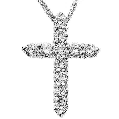 Collier Femme Pendentif 14 ct Or Blanc Round Diamant Croix (Livré avec une 45cm Chaîne)