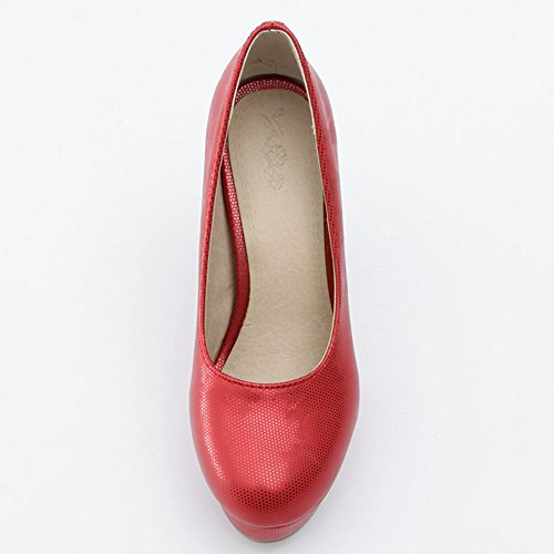 Red Cut Slip Platform Shoes Toe Wedding KingRover Work Closed Heel High Pumps on Block Women's Low Elegant qxTfa