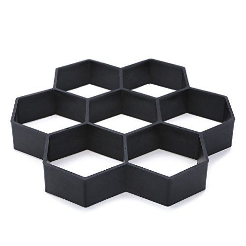 JTW- DIY Plastic Hexagon Shape Walkway Pavement Driveway Stone Mold Concrete Mold Stepping (28x29x4 cm) Black Color