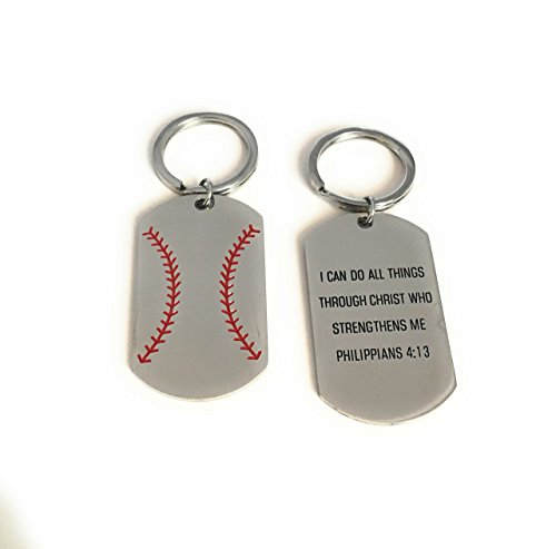 Cocomo Soul Baseball or Softball Keychain Key Chain I Can Do All Things Through Christ Who Strengthens Me- Philippians 4:13