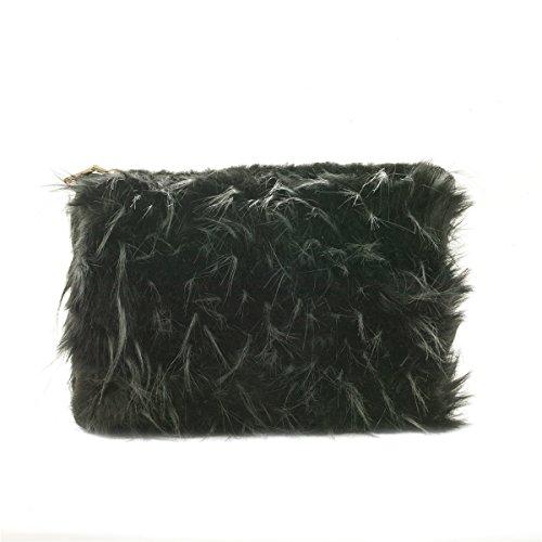 Zarapack Womens schwarz, Kunstfell, Runway Lunch-Tasche, Geldbörse Tasche