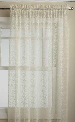 (LORRAINE HOME FASHIONS Priscilla 60-inch x 72-inch Tailored Panel, Ivory)