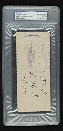 Dizzy Dean (d.1974) Cardinals HOF Signed Autographed Auto 1946 Check PSA/DNA Certified MLB Cut Signatures