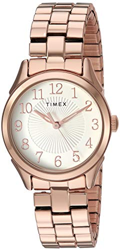Timex Women's TW2T45600 Briarwood 28mm Rose Gold-Tone/White Stainless Steel Expansion Band Watch (Rose Gold Timex Watch)