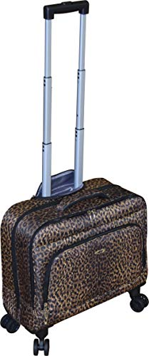Kemyer Small Overnighter Rolling Spinner Briefcase with Tablet Compartment Black (Leopard)