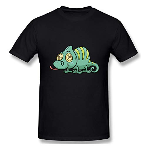 Lotus-flower Chameleons-Royalty-Free-Lizard-Stock-Photography Summer Fashion Pure Cotton Black XXL Short Sleeve T-Shirt