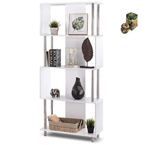 COSTWAY Industrial Style 4 Shelf Modern Storage Display Bookcase by SpiritOne + Gift Coconut Shell Massage Ball