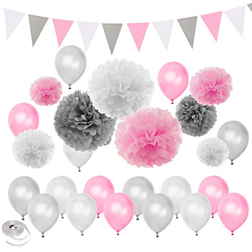 Pink Silver White Themed Baby Shower Party Decorations Wedding Birthday Supplies—Balloons Paper Pom Poms and Triangle -