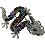 Brooches Store Small Antique Silver and Multi Crystal Dragon Brooch