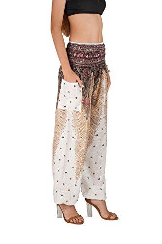 JOOP JOOP Bohemian Tapered Elephant Harem Loose Yoga Pants, White, S/M by JOOP JOOP (Image #1)