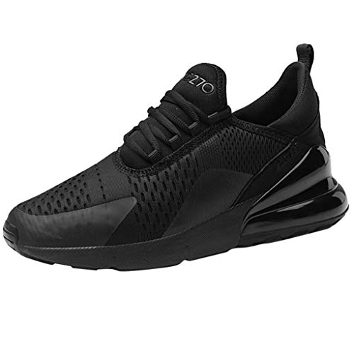 Mysky Fashion Men Leisure Brief Weight Athletic Sport Running Shoes Men Mixed Color Comfortable Flat Sneakers Black ()
