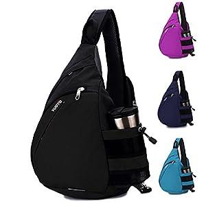 YUOTO Sling Backpack One Strap Crossbody Rope Sling Shoulder Bag Women Men black