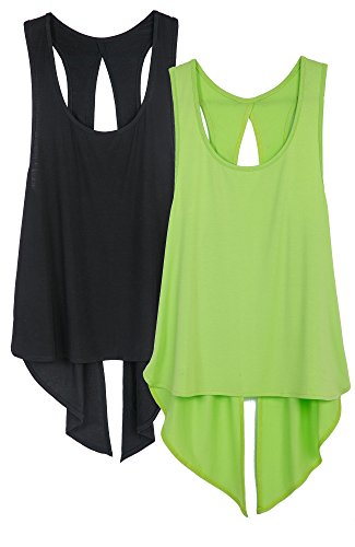 icyzone Sexy Yoga Tops Workout Clothes Racerback Tank Top for Sport Women (M, Black/Greenery) -