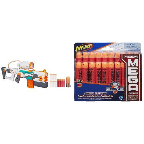 Nerf Modulus Tri Strike And Nerf N Strike Elite Mega Dart Refill Playset  20 Pack  Bundle