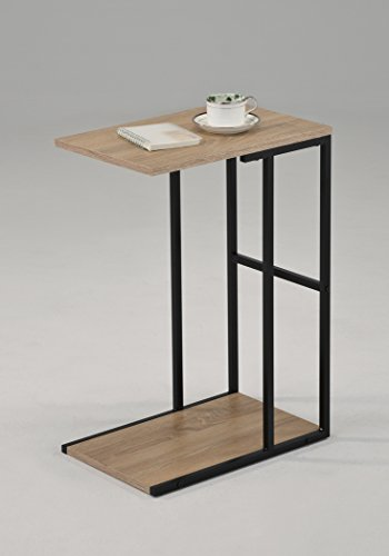 Reclaimed Wood Look Sonoma Oak / Black Metal Finish 2-tier Chrome Snack Side End (Metal Wood Finish Table)