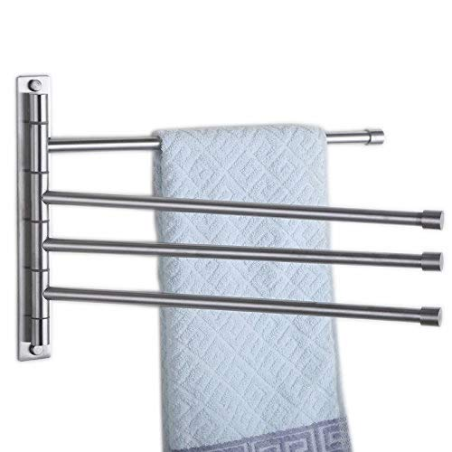 (Hiendure 304 Stainless Steel Swing Out Towel Bar Rod Folding Arm Swivel Towel Rack Hanger Holder Bathroom Kitchen Storage Organizer Rustproof Wall Mount Towel Rail, Brushed Finish)