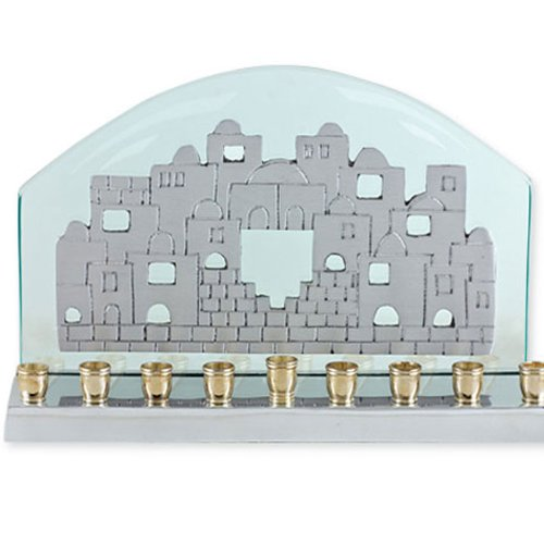 Glass & Aluminum Hanukkah Menorah