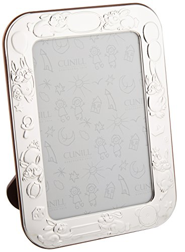 Cunill Silver Bunnies Birth Record Frame for 4 by 6-Inch Photograph, Sterling Silver