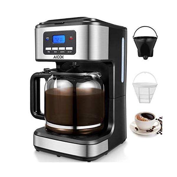 Macchina Caffe Aicok, Macchina caffe Americano 1000Watt, CaffettieraAmericana Digitale Automatica con Timer e Display 1.8L, Filtri Caffe Americano per Tè e Caffe, Acciaio Inox 1