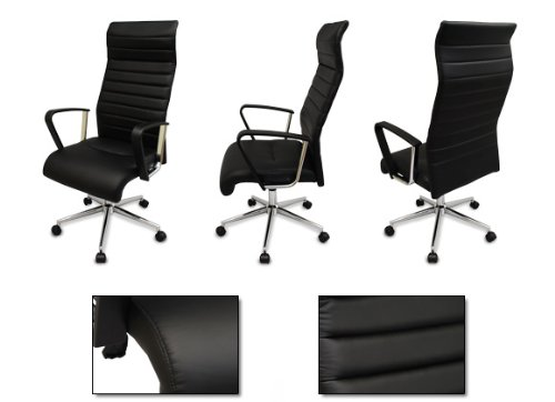 The Alexander Black Modern Ergonomic Office Chair - w/ High Back, Passive Lumbar Support and Stylish Chrome Base