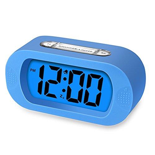 Sealive Morning Clock Table Desktop Clock for Bedroom Nursery,Digital Alarm Clock with LED Large Screen Desk Bedside Alarm Clock with Snooze for 5 Minutes Light Function Batteries Powered (Blue)