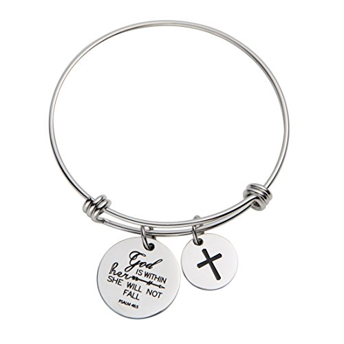 (omodofo Bible Verse Bangle Bracelet God is Within Her She Will Not Fall Psalm 46 5 Christian Theme Bangle Scripture Jewelry Inspirational Encouragement)