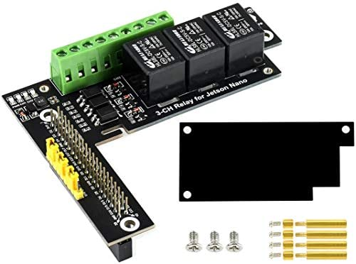 3-Channel Relay Expansion Board for Jetson Nano Developer Kit B01 and Jetson Nano 2GB Developer Kit, as much as 2X Stackable Max Load ≤5A 250V AC or ≤5A 30V DC