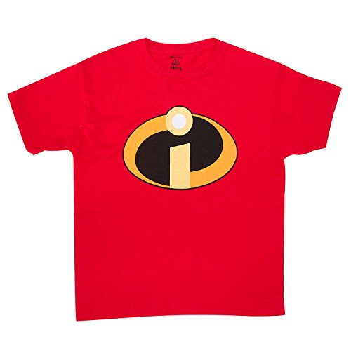 Disney Kids' Big Incredbles Logo Short Sleeve Tee, red, S