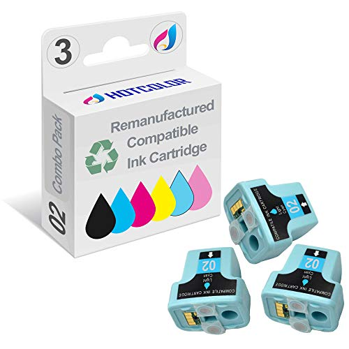 (HOTCOLOR 3 Pack 02 02XL Light Cyan Remanufactured Inkjet Cartridges for HP 02XL HP02XL HP 02 Light Cyan C8774WN#140 Ink Cartridge)
