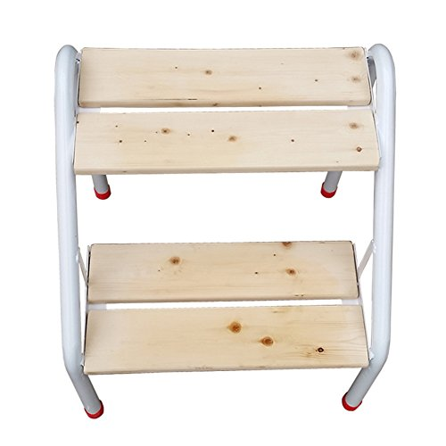 PENGFEI Stepstools Folding Ladder Stool Stairs Solid Wood Multifunction Household Change Shoes Library Iron Bracket, 2 Steps Wood Color Building (Iron Arc Bracket)