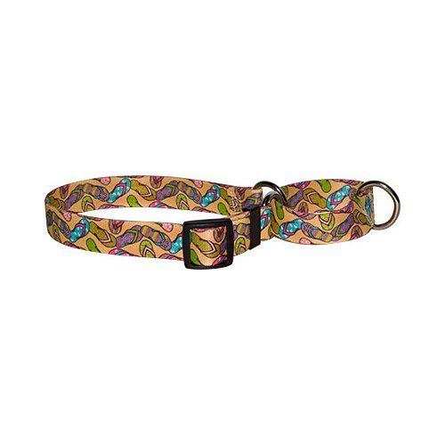 "Flip Flops Martingale Control Dog Collar - Size Large 26"" Long - Made In The USA from Yellow Dog Design"