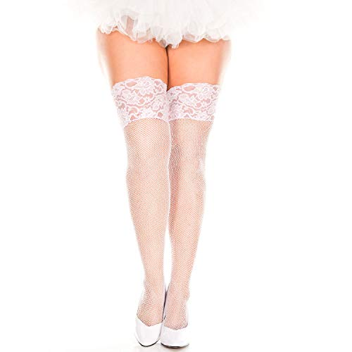 (MUSIC LEGS Women's Plus Size Two Tone Wide Lace Top Fishnet Thigh Hi, White/Pink, One)